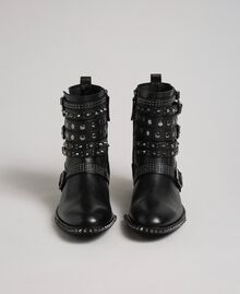 Leather biker boots with straps and studs Black Woman 192TCP01Q-05