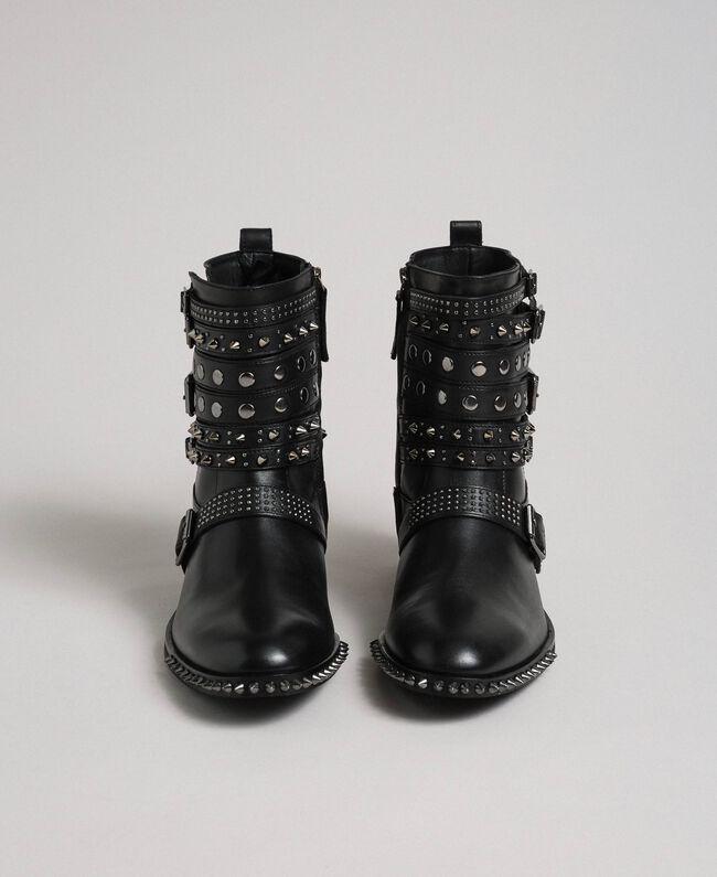 Кожаные байкерские полусапожки с ремешками и заклепками Черный женщина 192TCP01Q-05