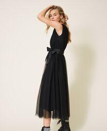 Tulle dress with satin belt Black Woman 202MP201C-03