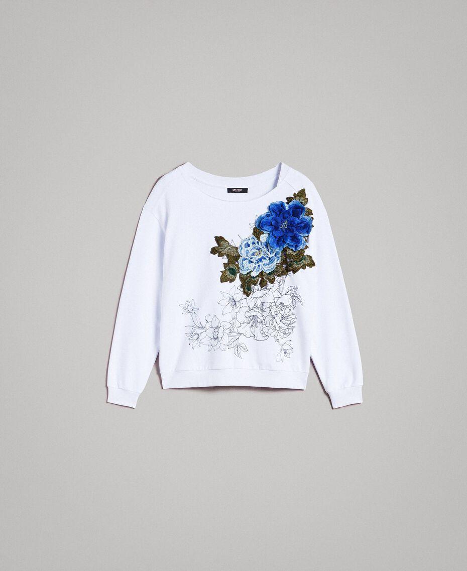Sweatshirt mit Aufdruck und Stickerei Weiß Frau 191MT2351-0S