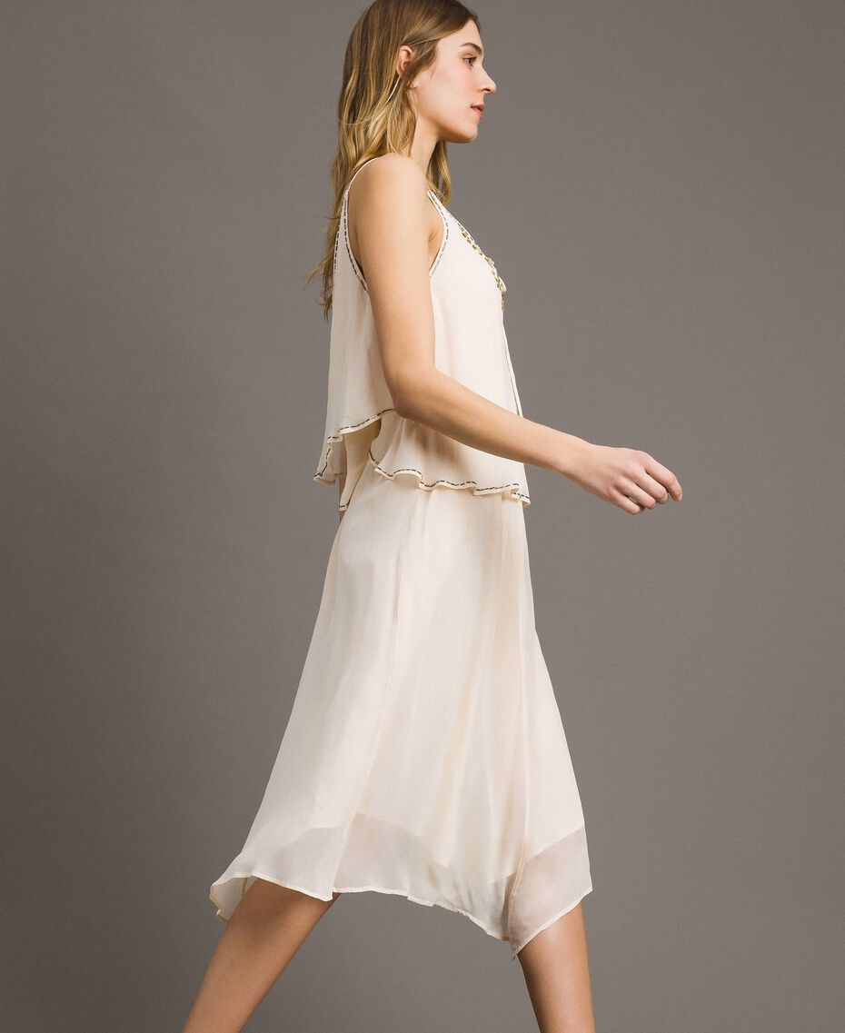 """Crepon besticktes Kleid """"Milkway"""" Beige Frau 191LB21BB-02"""