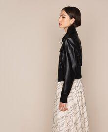Blouson en similicuir avec ceinture Noir Femme 201MP2030-02