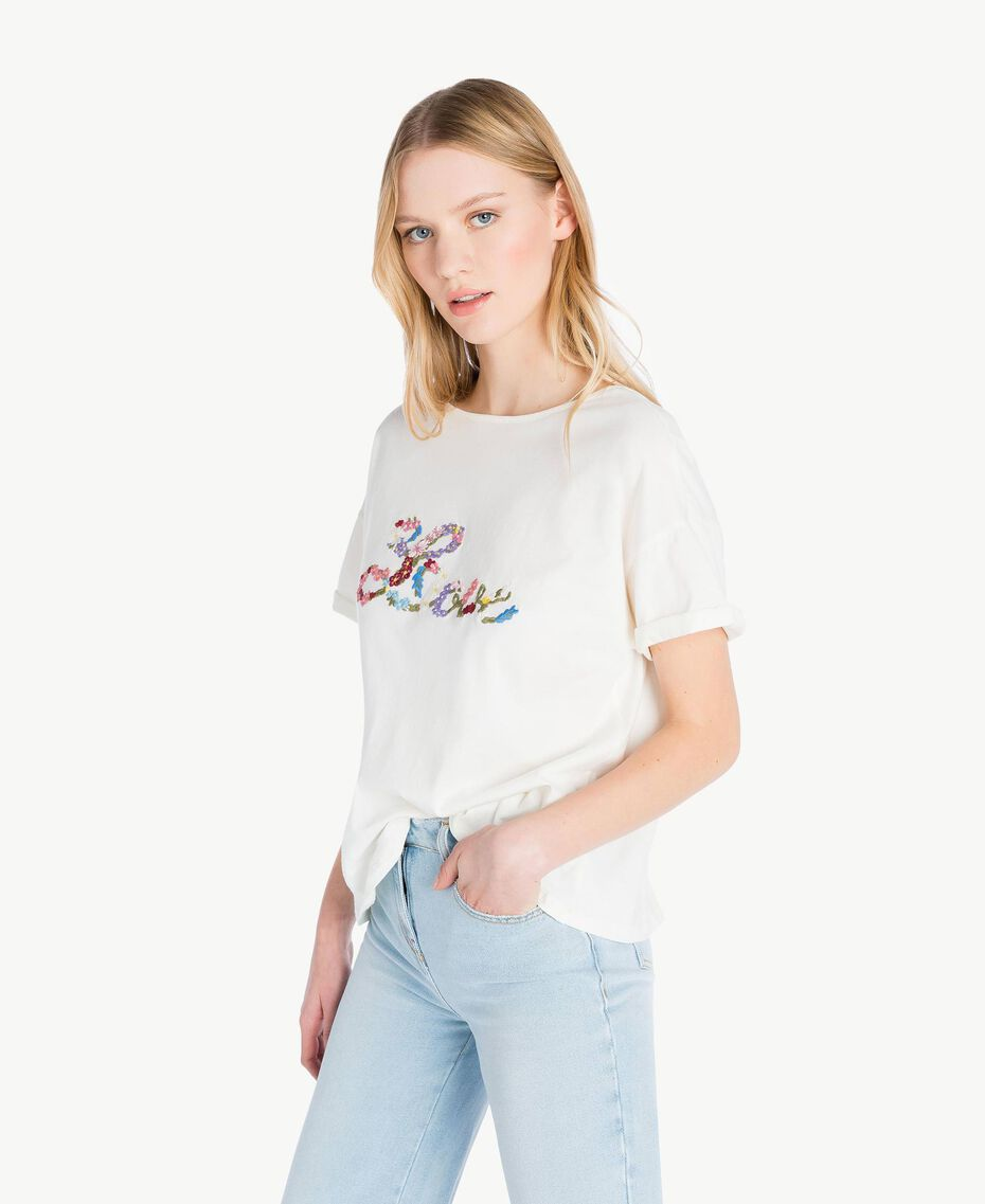 Embroidered T-shirt Light Ivory Woman PS82NR-02