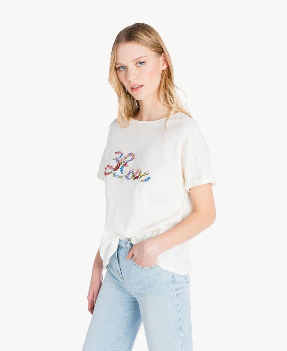 T-shirt broderie Ivoire Clair Femme PS82NR-02