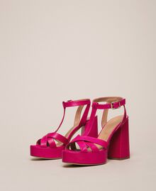 Leather T-bar sandals Black Cherry Woman 201TCP070-01