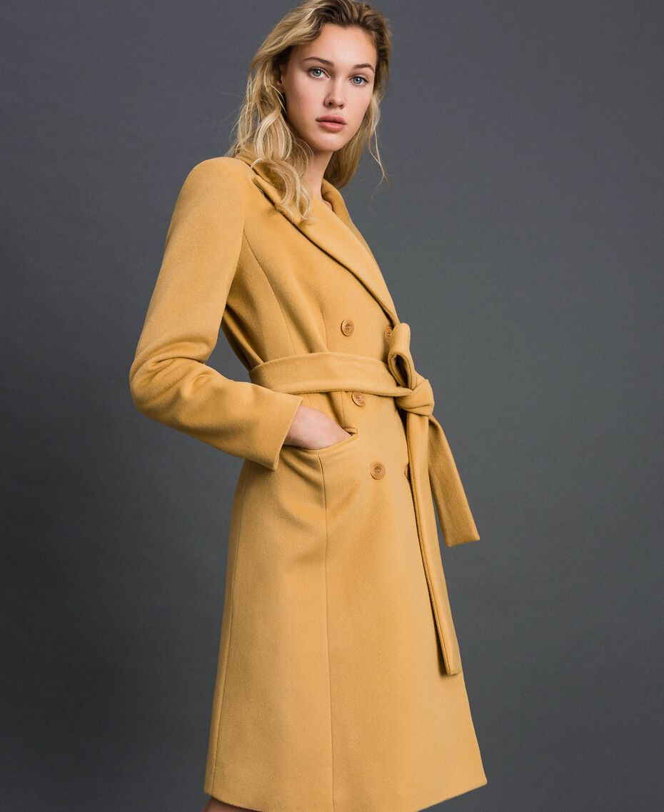 """Double breasted wool cloth coat """"Gold Camel"""" Beige Woman 999TT2030-01"""