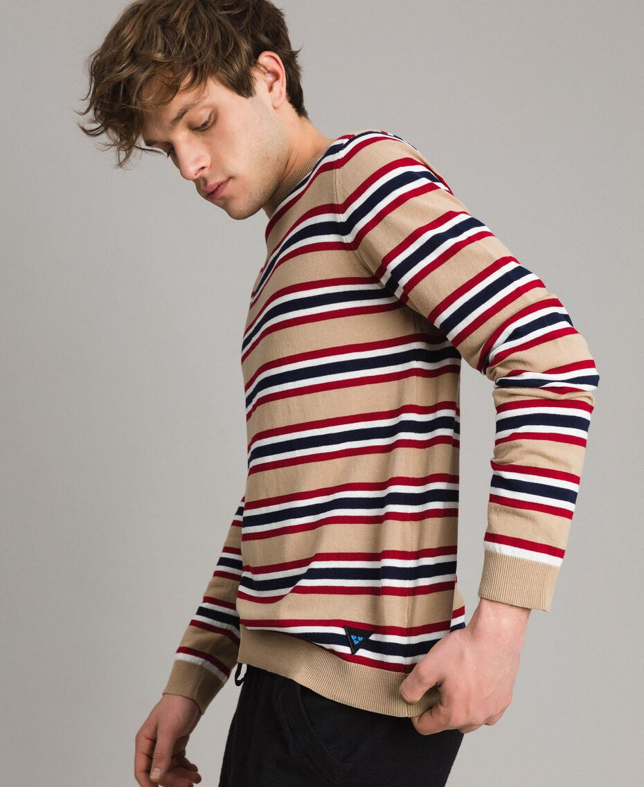"Crêpe cotton striped jumper Multicolour Porcelain Beige / ""Dark Raspberry"" Red Man 191UT3033-02"