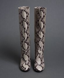 Stivali in pelle con stampa animalier Stampa Pitone Roccia Donna 192TCT010-05