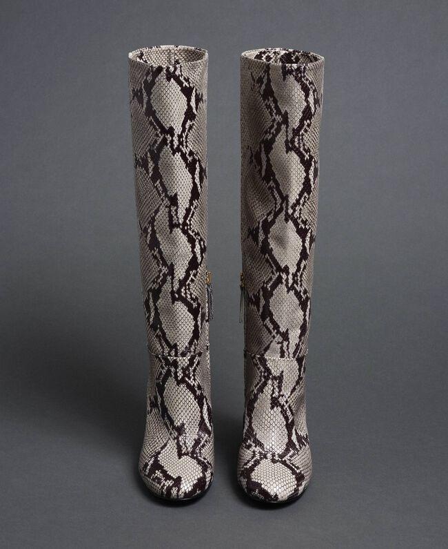 Кожаные сапоги с животным принтом Принт Питон Скала женщина 192TCT010-05