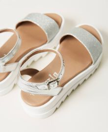 Laminated leather sandals with glitter Laminated Silver Grey Child 211GCJ100-04