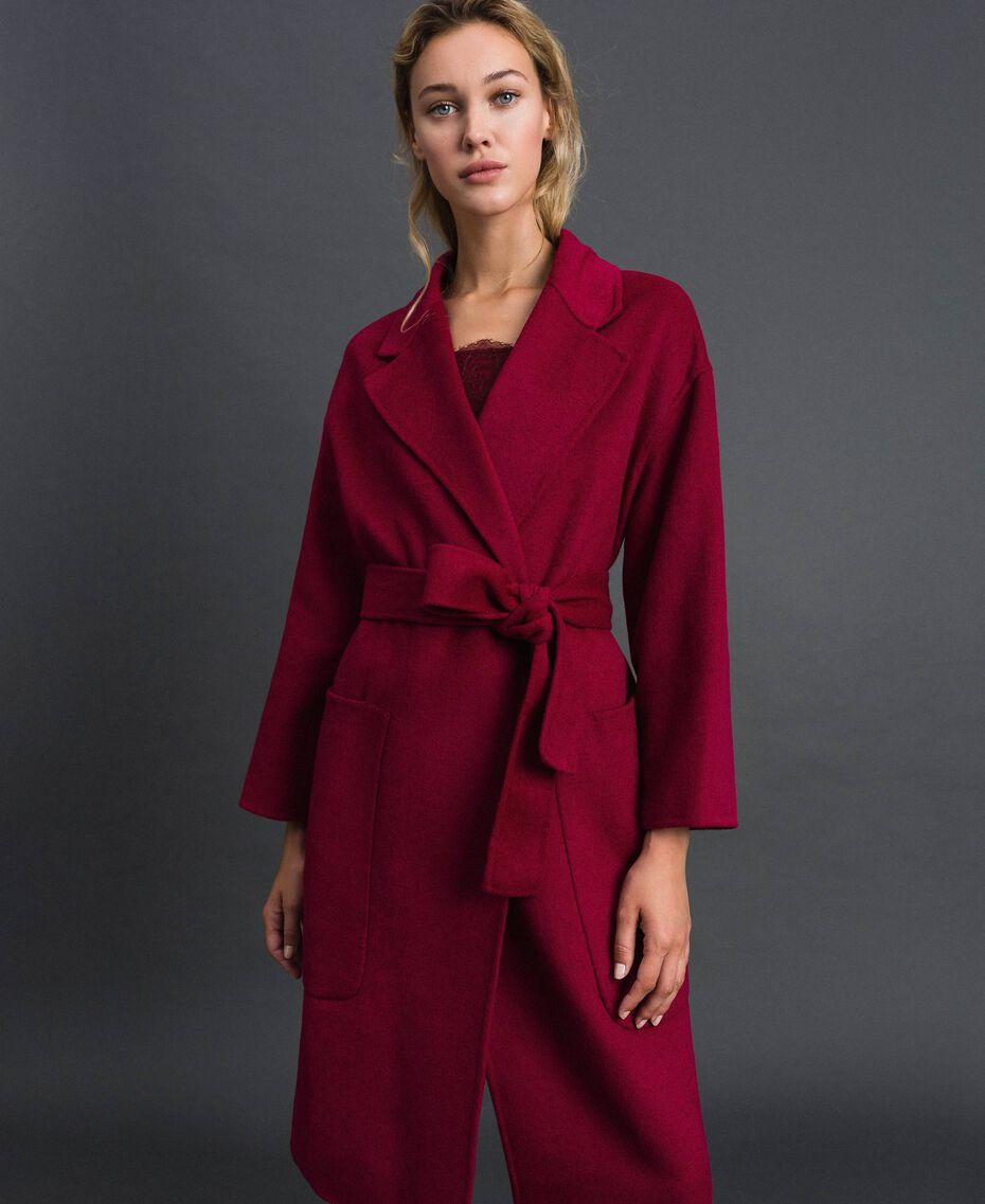 Double wool blend coat Beet Red Woman 192TP2312-02