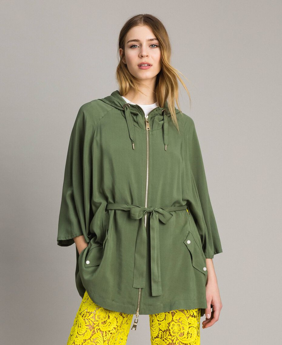 "Hooded cape ""Cactus"" Green Woman 191MT2311-02"