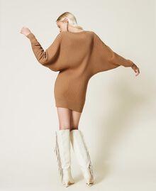 Robe en maille côtelée Marron «Rhum» Femme 212TP3212-03