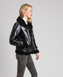 Patent leather effect faux shearling biker jacket Black Woman 192MT2030-03