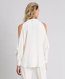 Camicia in crêpe de Chine con volant Bianco Neve Donna 192TT2432-03