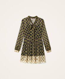 Robe en crépon avec imprimé de chaînes Imprimé Grande Chaîne Noir / Ivoire Femme 202TT221C-0S