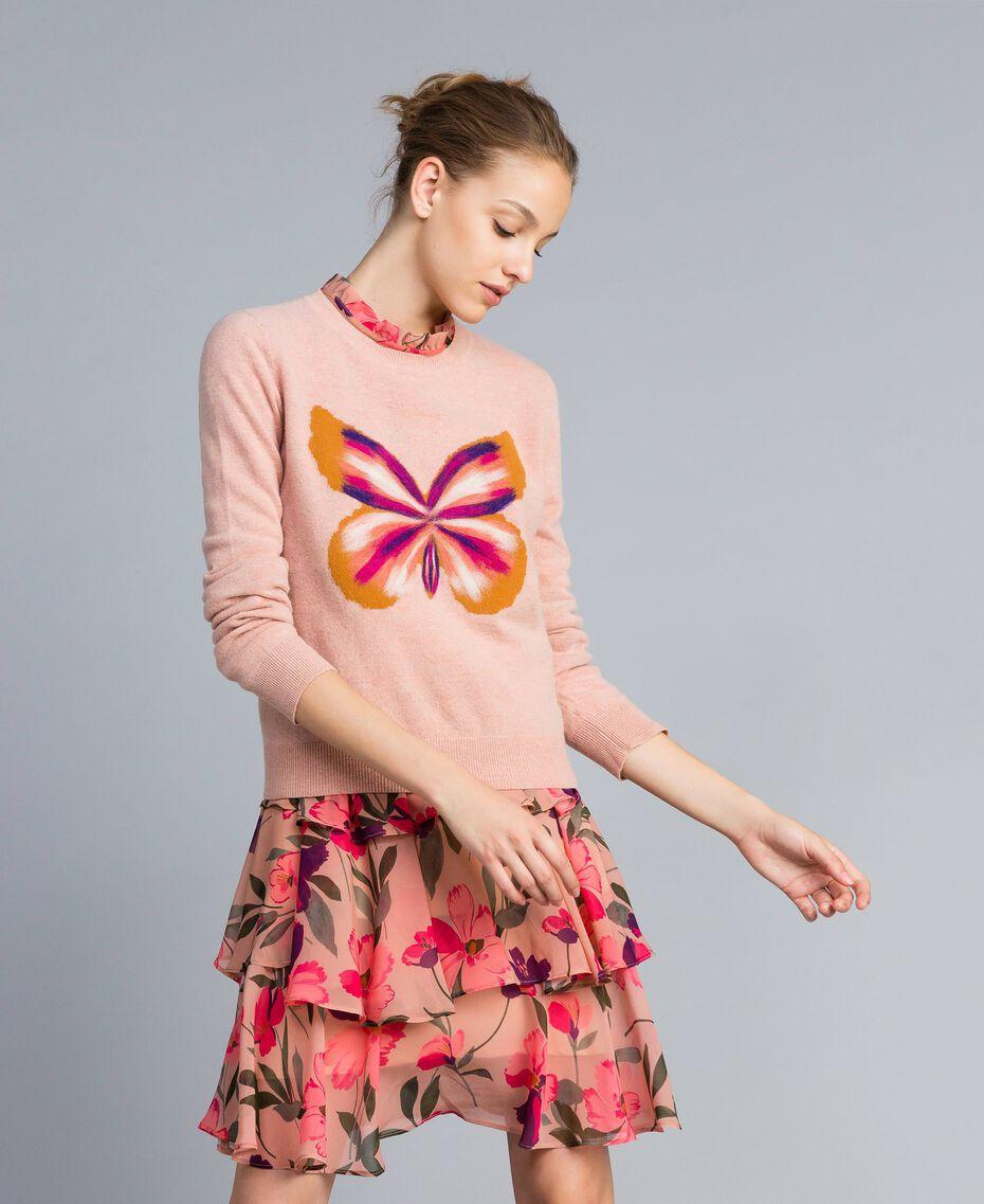 """Kleid aus Chiffon mit Blumenprint Print """"Rosa Tulpe"""" Frau TA825R-0T"""