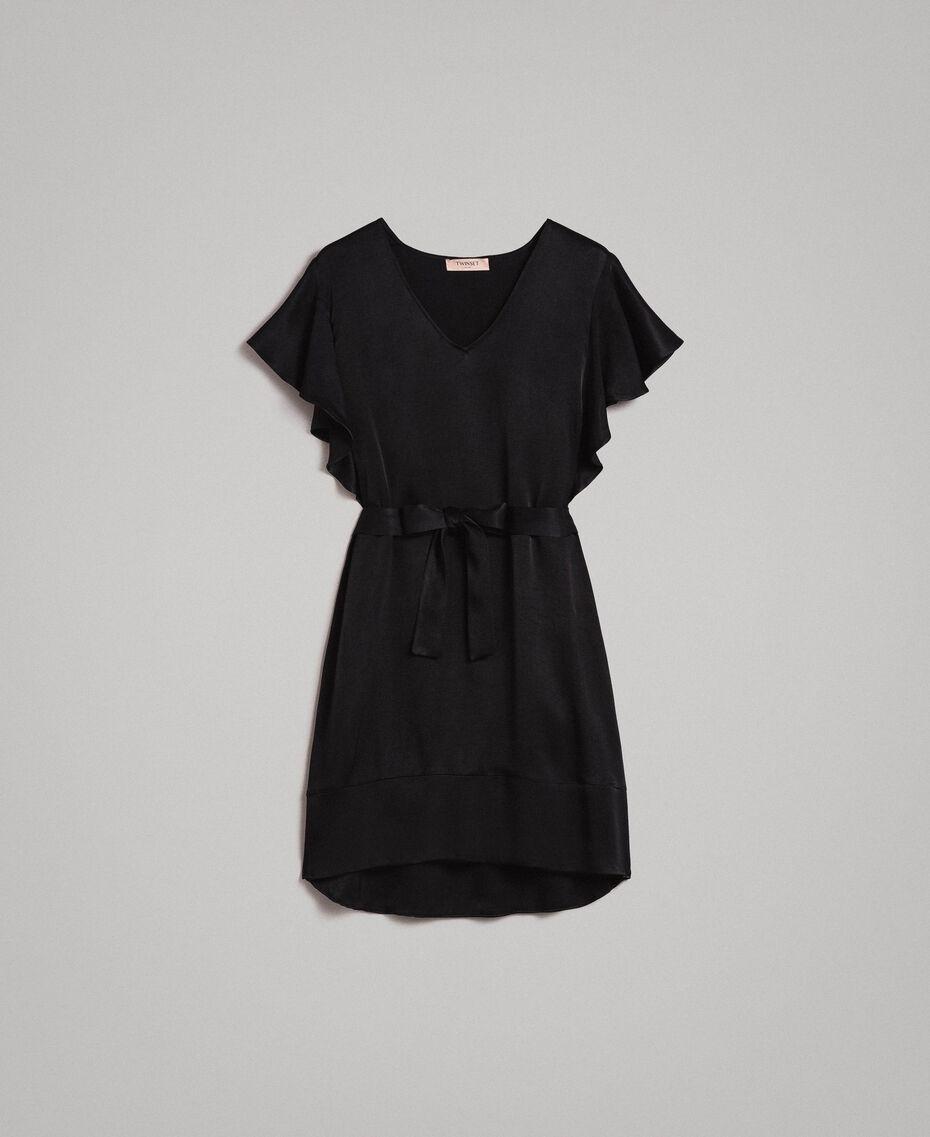 Robe en satin avec ceinture Noir Femme 191TT2450-0S