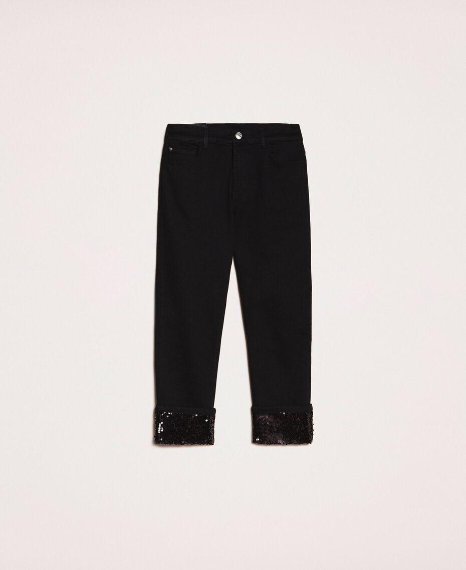 Jeans tomboy con paillettes Denim Nero Donna 201MP2262-0S
