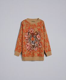 Maxi wool and jacquard lurex jumper Flower and Tiger Jacquard Woman TA83Z1-0S