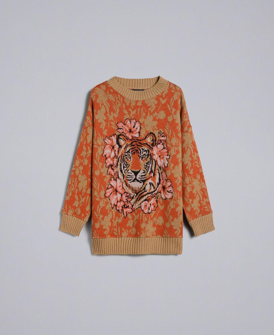 Maxi wool and jacquard lurex jumper Flower and Tiger Jacquard Woman TA83Z1-0S
