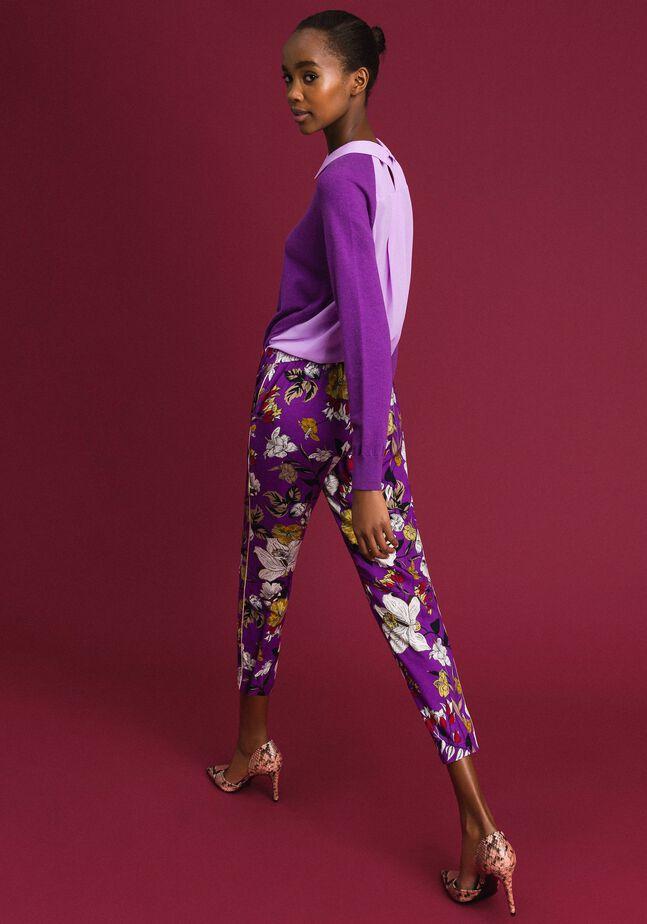 Floral print cigarette trousers