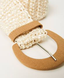 "Weaved raffia effect belt Two-tone ""Pecan"" Beige / ""Vanilla"" White Woman 211MO5302-02"