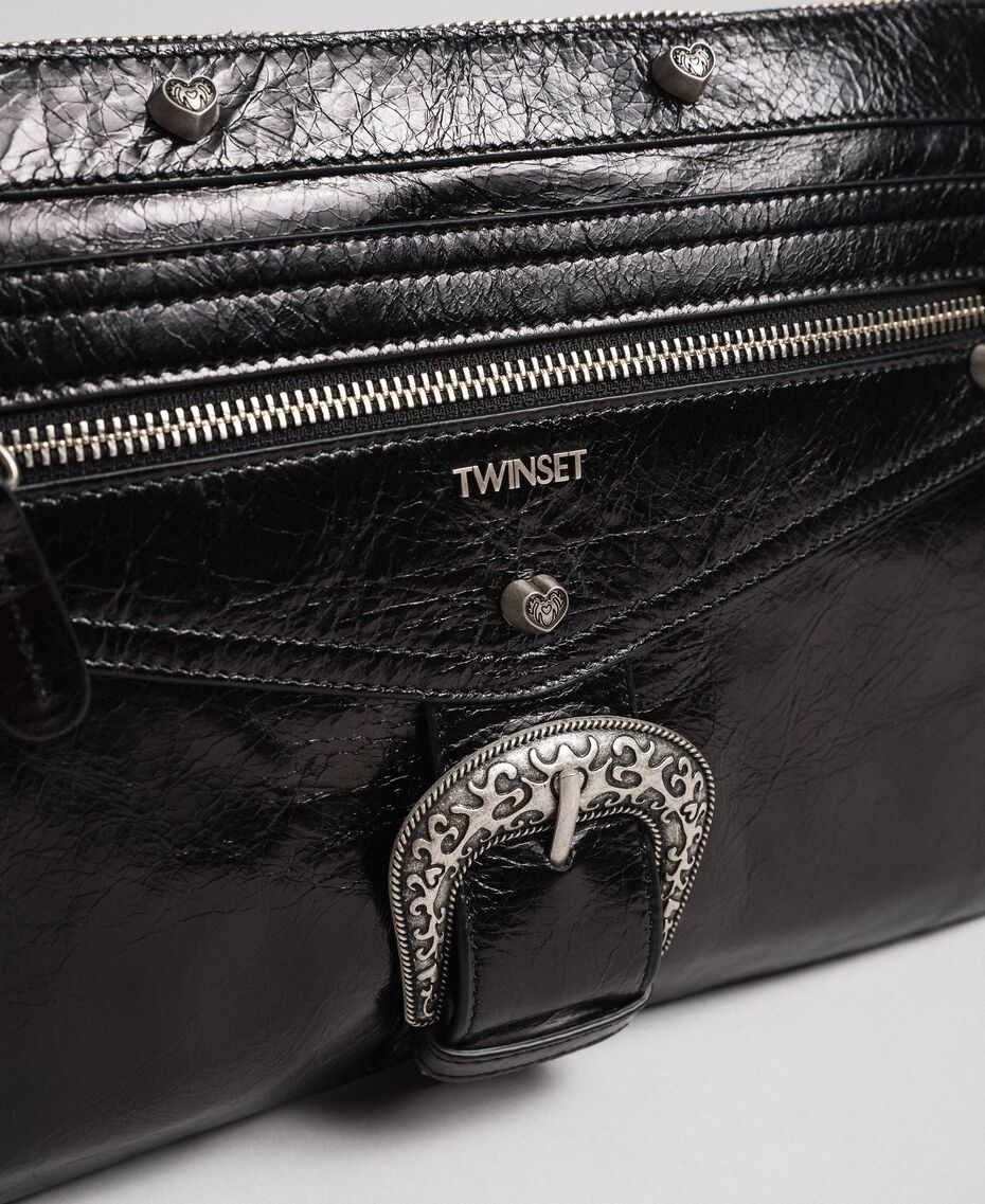 Leather pochette with decorative buckle Black Woman 192TO823H-03