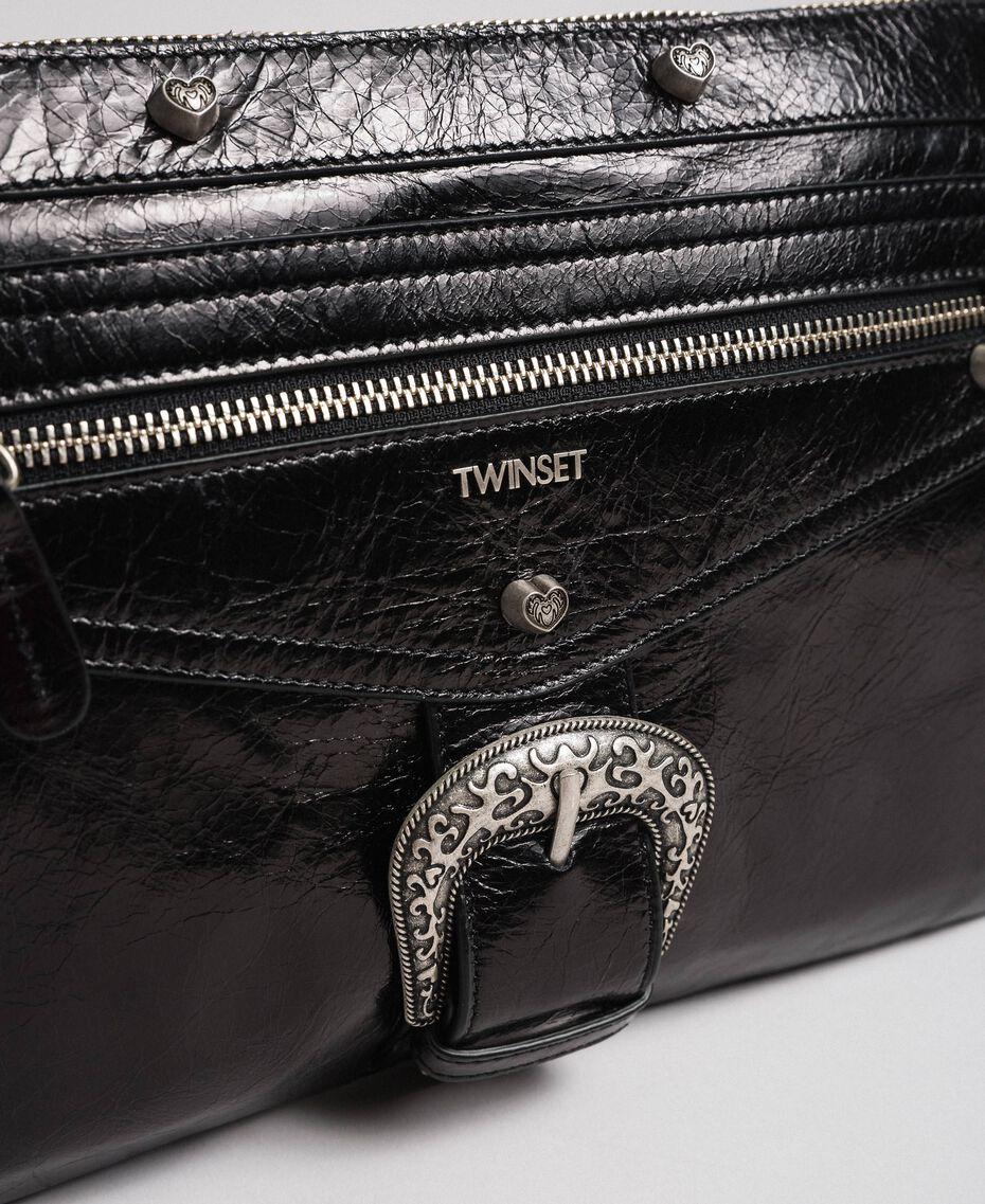 Bolso clutch de piel con hebilla decorativa Negro Mujer 192TO823H-03