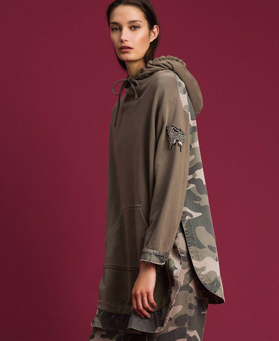 Maxi sweat avec détails camouflage Or Militaire / Imprimé Camouflage Femme 192TP2040-05