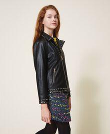 Куртка из искусственной кожи со звездочками Черный Pебенок 202GJ2830-02