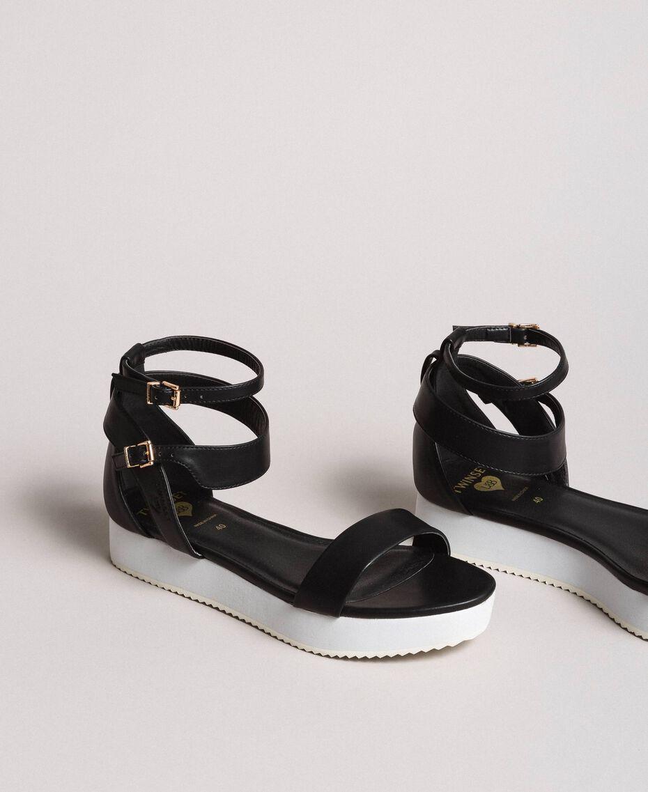 Sandales à plateforme avec lanière Noir Femme 191LL49FF-01