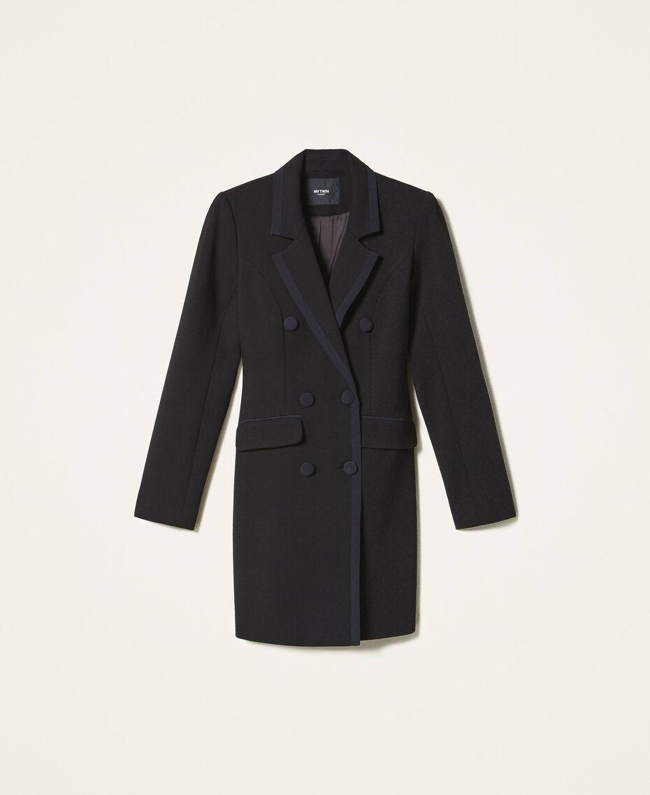 Long jacket with crêpe de Chine details Black Woman 202MP2291-0S