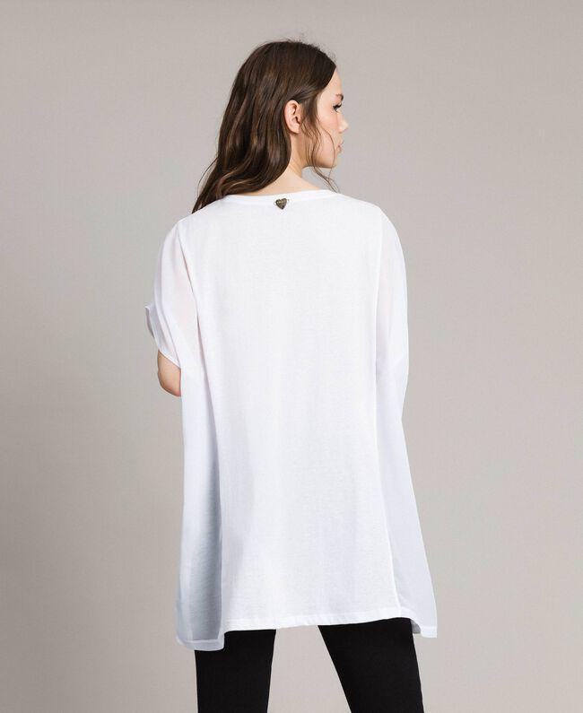 Maxi t-shirt avec imprimé et strass Blanc Femme 191LB23KK-03
