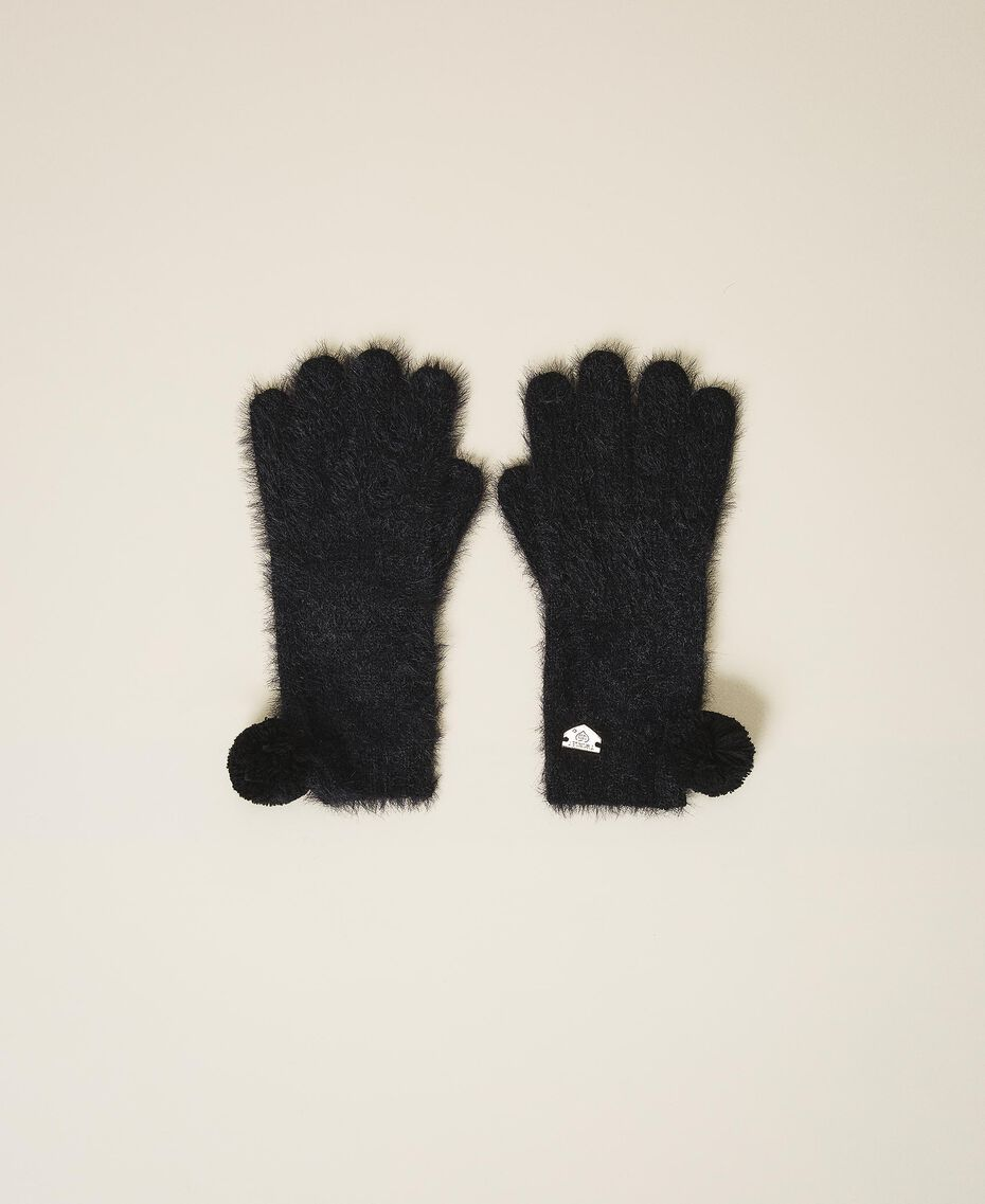 Mottled knit gloves Black Woman 202LI4ZTT-01