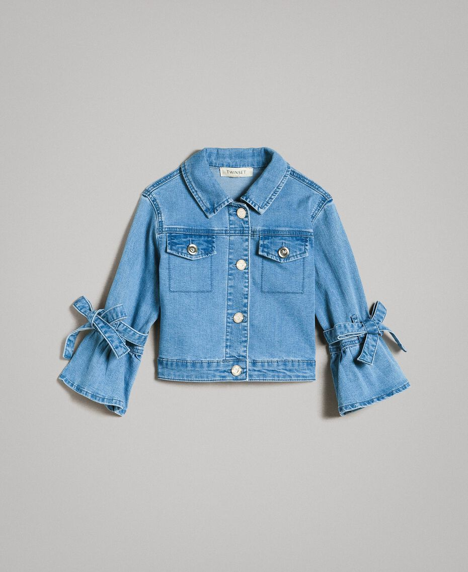 Denim jacket with bows Light Blue Denim Child 191GJ2610-01