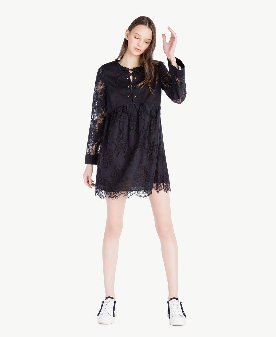 Robe dentelle Noir Femme SS82J5-01