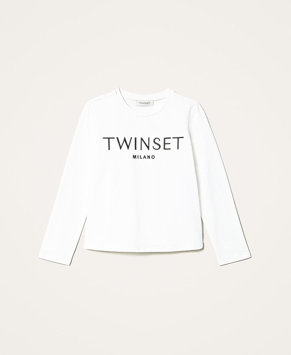 "T-Shirt mit aufgesticktem Logo Stickerei ""Lurex""-Silber / Mattpink Kind 202GJ2316-0S"