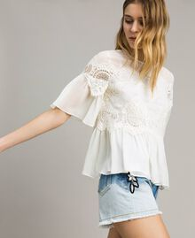 Georgette blouse with lace White Snow Woman 191TT2101-02