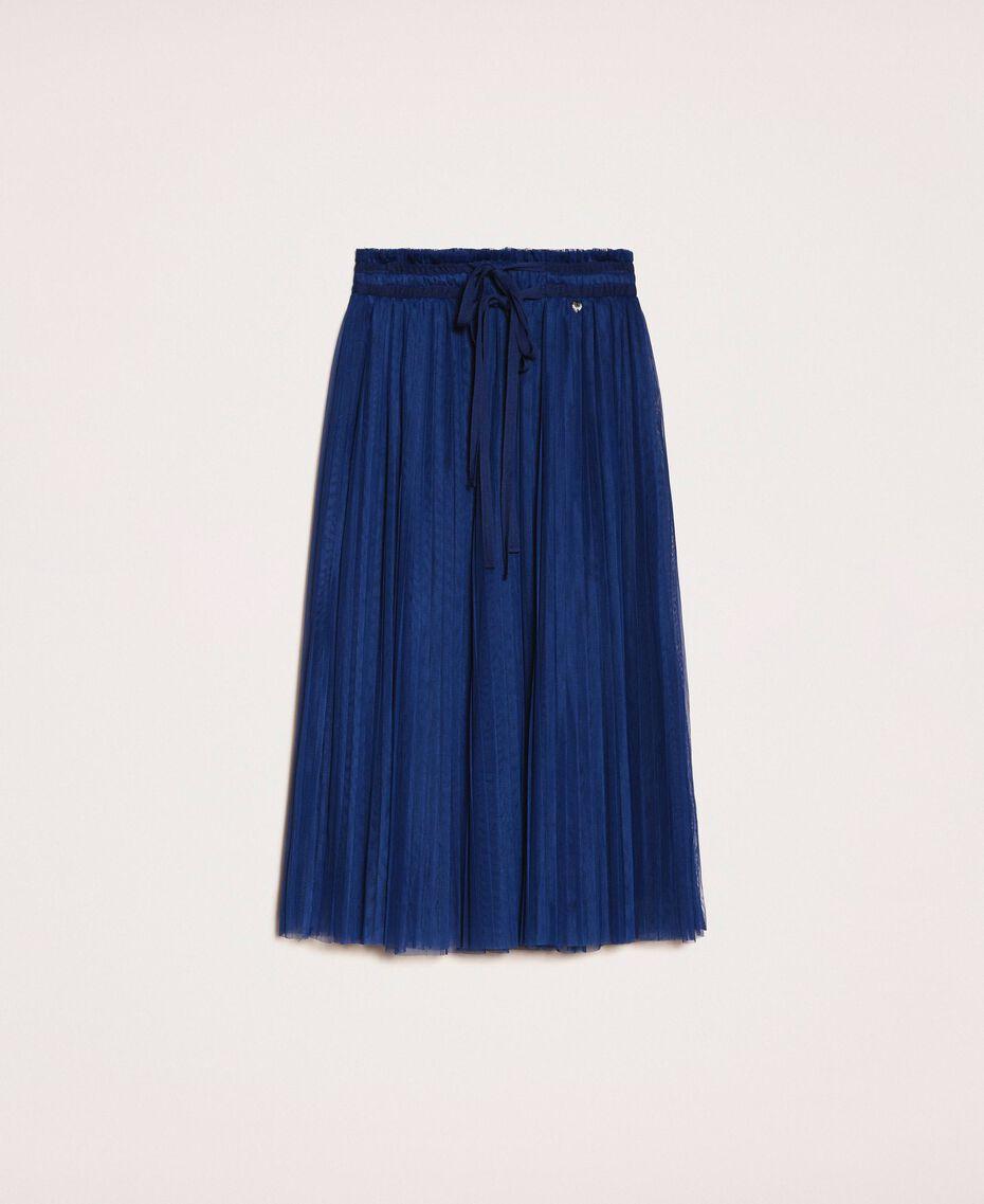 Юбка-миди из плиссированного тюля Синий Ультрамарин женщина 201MP2122-0S
