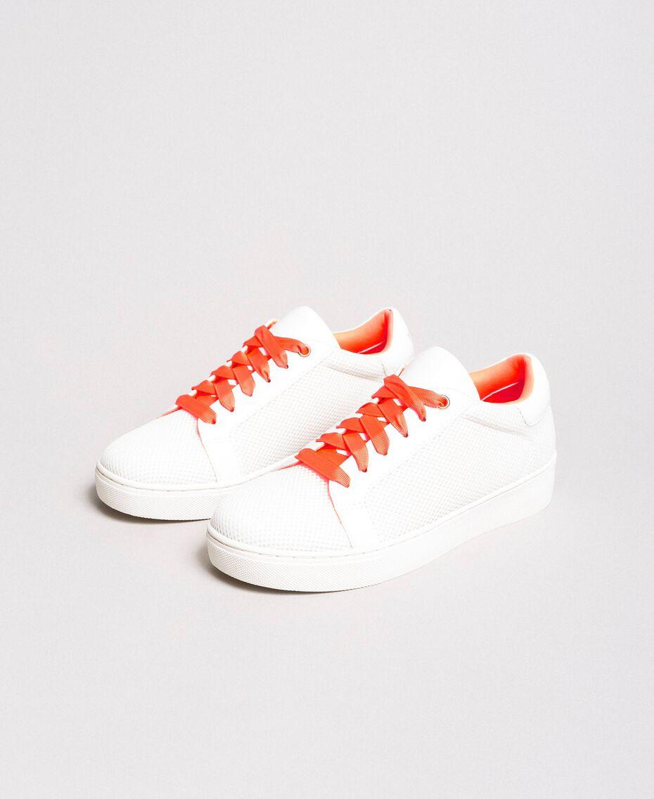 Sneakers aus Stoff mit Netzeffekt Weiß Frau 191LL49EE-02