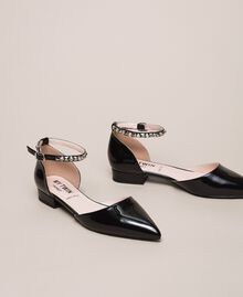 Patent leather ballerina pumps with rhinestones Black Woman 201MCP01G-02