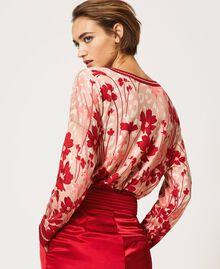 Cardigan-Pullover mit Blumendessin Blumen-Animal-Dessin Pfirsich / Kirschrot Frau 202TP3500-06