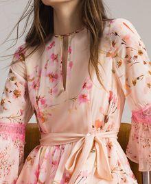 """Robe en georgette à imprimé floral Imprimé Rose """"Bouton De Rose / Peach Mix"""" Femme 191TP2716-05"""