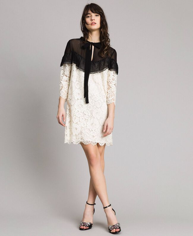 "Macramé lace two-tone dress Bicolour ""Snow"" White / Black Woman 191TP2256-01"