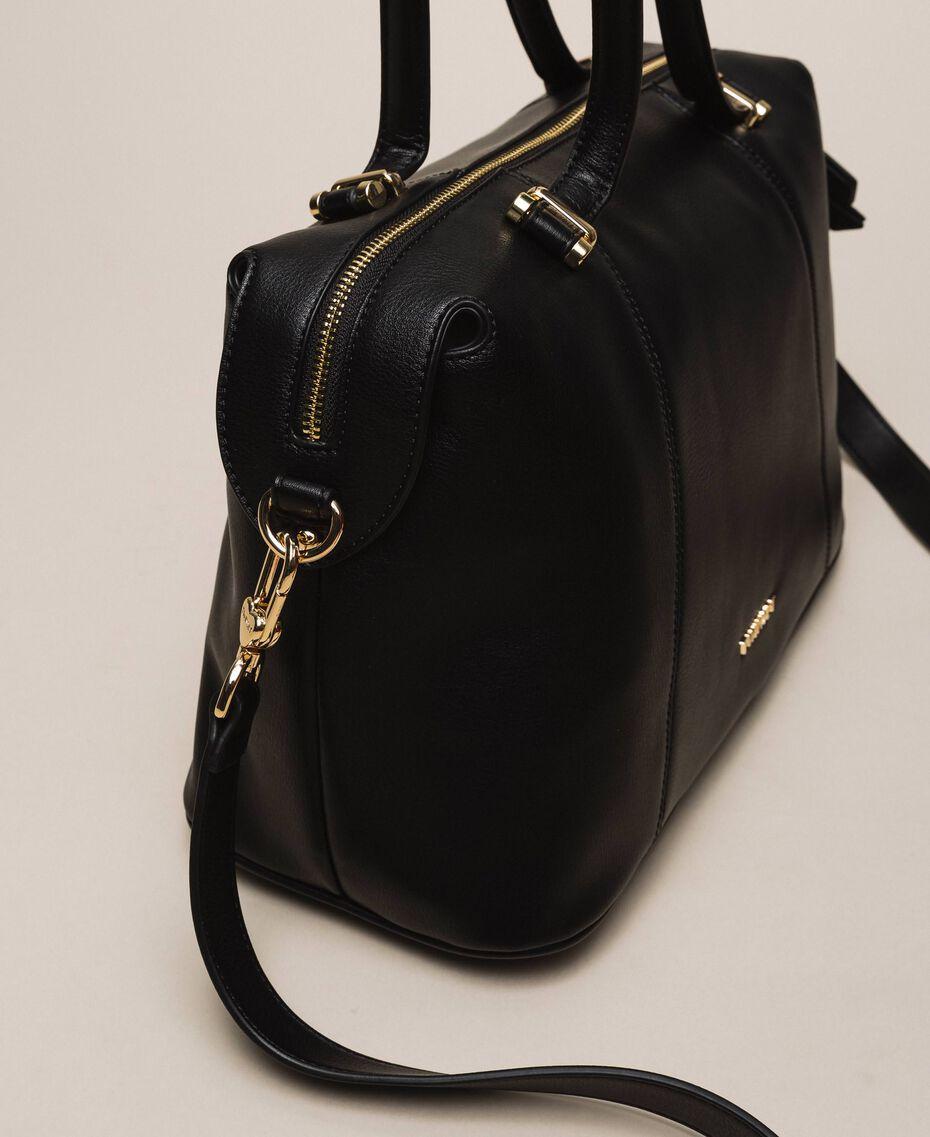 Bauletto-Tasche aus Lederimitat Schwarz Frau 201TA7162-02