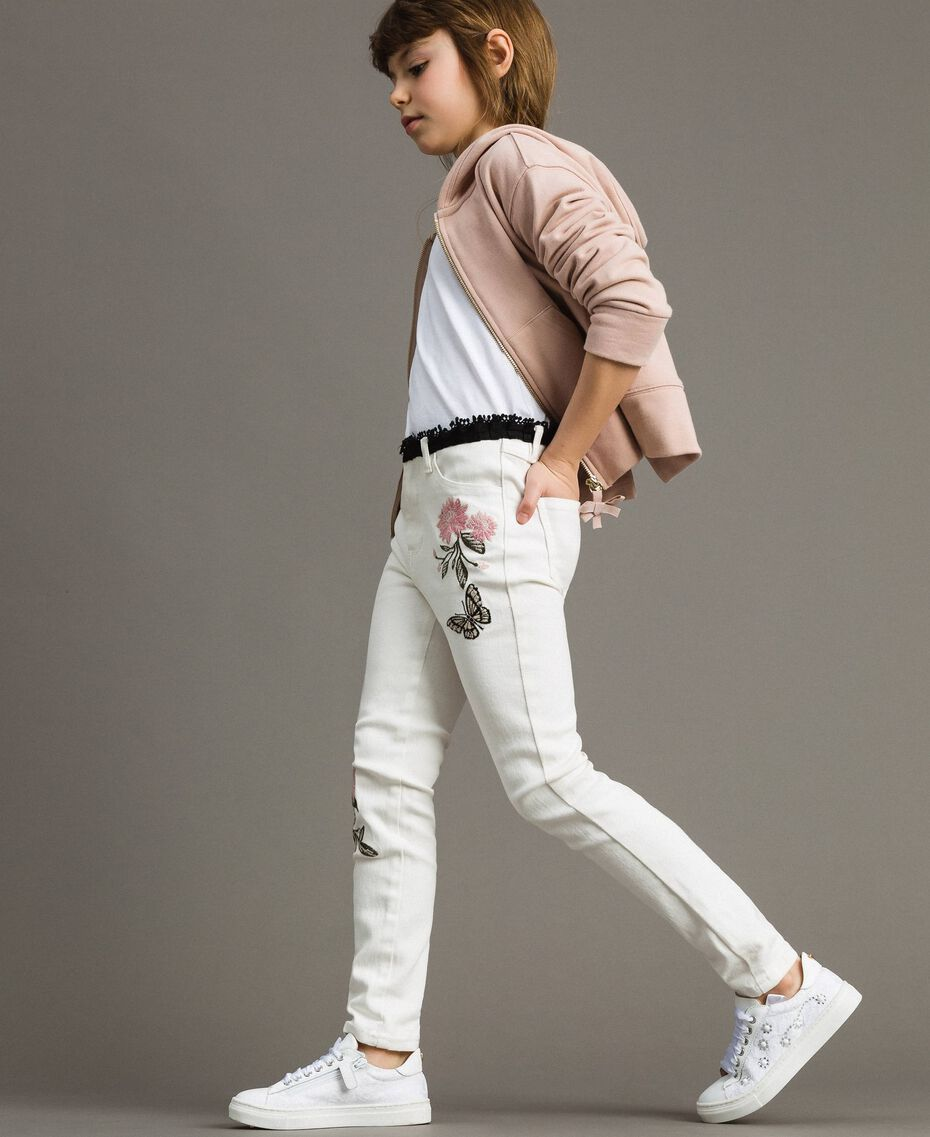 Bull skinny trousers with embroideries Off White Child 191GJ2580-0S