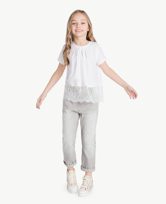 "Lace blouse ""Papers"" White Child GS82ED-06"