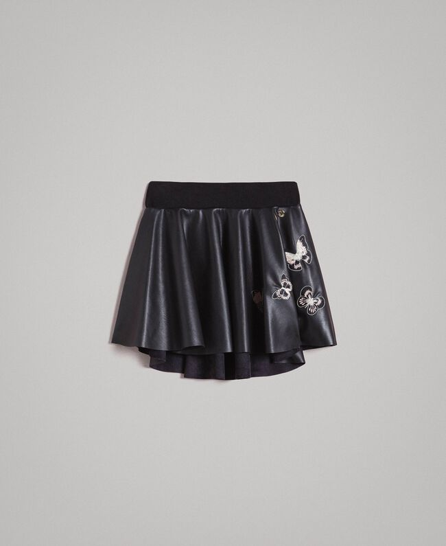 Faux leather skirt with butterflies Black Child 191GJ2261-01