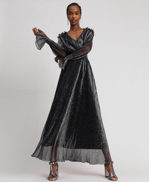 Robe longue en tulle crépon métallique